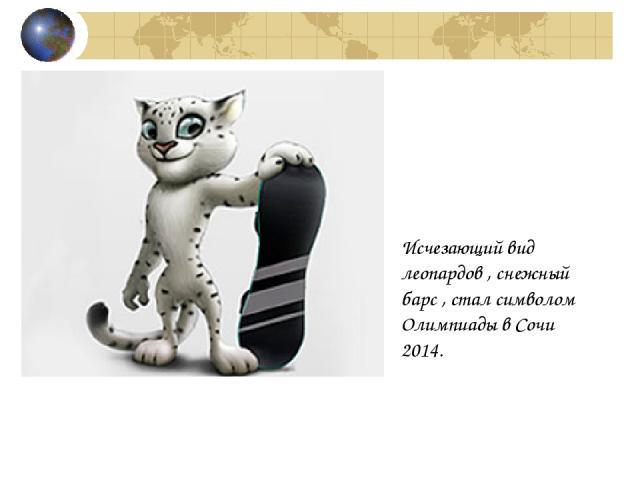 Исчезающий вид леопардов , снежный барс , стал символом Олимпиады в Сочи 2014.