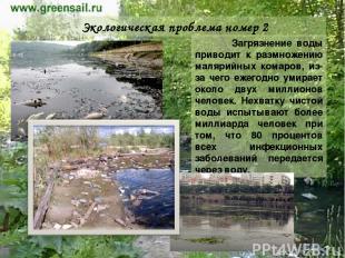 Экологическая проблема номер 2 Загрязнение воды приводит к размножению малярийны