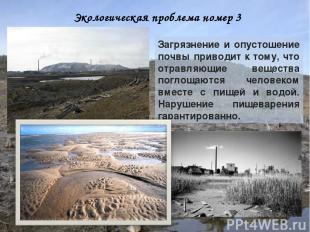 Экологическая проблема номер 3 Загрязнение и опустошение почвы приводит к тому,