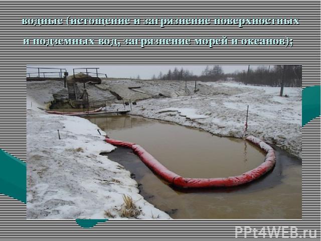 водные (истощение и загрязнение поверхностных и подземных вод, загрязнение морей и океанов);