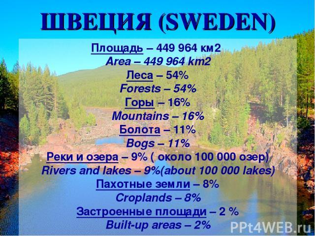 Площадь – 449 964 км2 Area – 449 964 km2 Леса – 54% Forests – 54% Горы – 16% Mountains – 16% Болота – 11% Bogs – 11% Реки и озера – 9% ( около 100 000 озер) Rivers and lakes – 9%(about 100 000 lakes) Пахотные земли – 8% Croplands – 8% Застроенные пл…