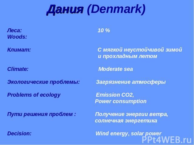Дания (Denmark) Леса: 10 % Woods: Климат: С мягкой неустойчивой зимой и прохладным летом Climate: Moderate sea Экологические проблемы: Загрязнение атмосферы Problems of ecology Emission CO2, Power consumption Пути решения проблем : Получение энергии…