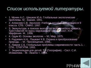 Список используемой литературы. 1. Монин А.С., Шишков Ю.А. Глобальные экологичес
