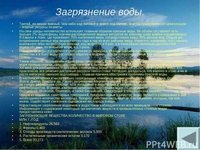 Загрязнение воды. Третий, не менее важный, чем небо над головой и земля под ногами, фактор существования цивилизации – водные ресурсы планеты. На свои нужды человечество использует главным образом пресные воды. Их объём составляет чуть больше 2% гид…