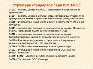 Структура стандартов сери ISO 14000 14001 – системы управления ООС. Требования и