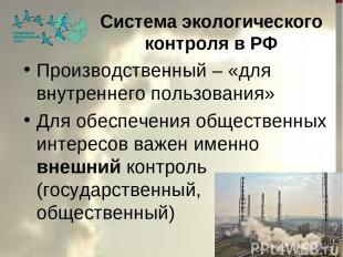 Система экологического контроля в РФ Производственный – «для внутреннего пользов