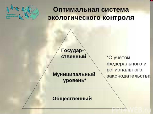 Оптимальная система экологического контроля Общественный Муниципальный уровень* Государ- ственный *С учетом федерального и регионального законодательства