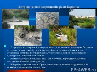 Антропогенное загрязнение реки Веронда В пределах водоохранной зоны реки имеется