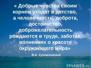 « Добрые чувства своим корнем уходят в детство, а человечность, доброта, достоин