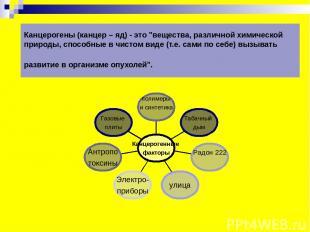 """Канцерогены (канцер – яд) - это """"вещества, различной химической природы, способн"""