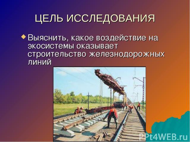 ЦЕЛЬ ИССЛЕДОВАНИЯ Выяснить, какое воздействие на экосистемы оказывает строительство железнодорожных линий