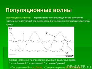 Популяционные волны Кривые изменения численности популяций различных видов: 1–