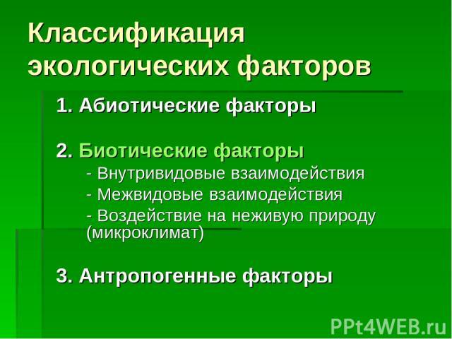 Классификация экологических факторов 1. Абиотические факторы 2. Биотические факторы - Внутривидовые взаимодействия - Межвидовые взаимодействия - Воздействие на неживую природу (микроклимат) 3. Антропогенные факторы
