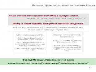 * Мировая оценка экологического развития России УРОВЕНЬ экологического развития
