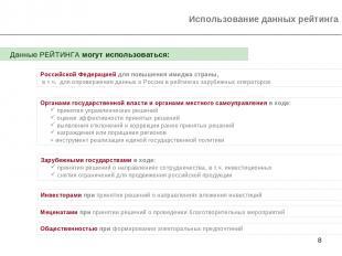 * Использование данных рейтинга Органами государственной власти и органами местн
