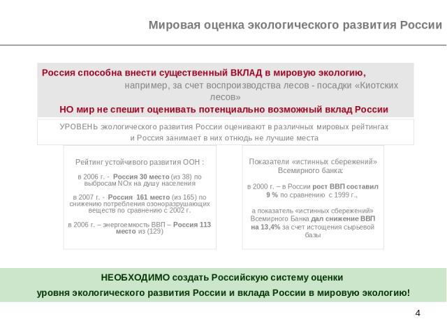 * Мировая оценка экологического развития России УРОВЕНЬ экологического развития России оценивают в различных мировых рейтингах и Россия занимает в них отнюдь не лучшие места Рейтинг устойчивого развития ООН : в 2006 г. - Россия 30 место (из 38) по в…