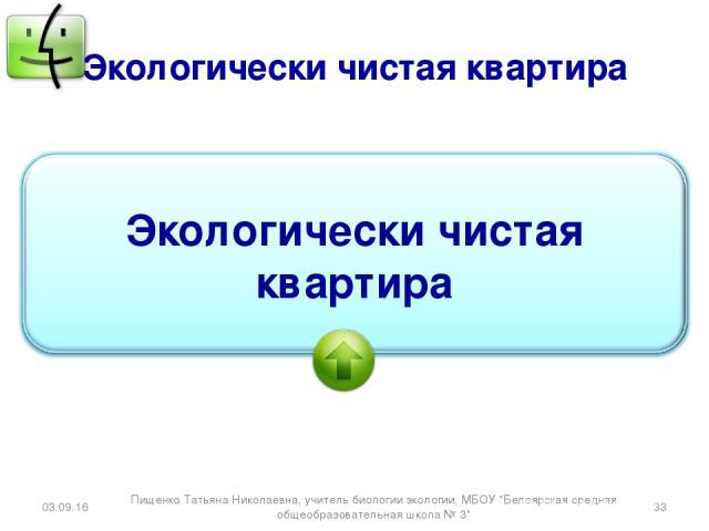 Экологически чистая квартира * * Пищенко Татьяна Николаевна, учитель биологии экологии, МБОУ