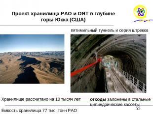 Проект хранилища РАО и ОЯТ в глубине горы Юкка (США) Хранилище рассчитано на 10
