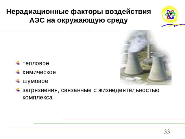 Нерадиационные факторы воздействия АЭС на окружающую среду тепловое химическое шумовое загрязнения, связанные с жизнедеятельностью комплекса