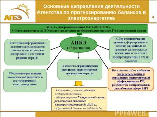* Основные направления деятельности Агентства по прогнозированию балансов в элек