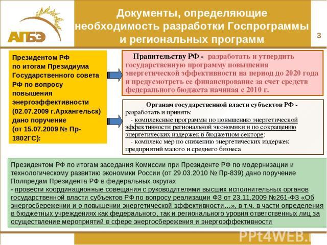 * Органам государственной власти субъектов РФ - разработать и принять: - комплексные программы по повышению энергетической эффективности региональной экономики и по сокращению энергетических издержек в бюджетном секторе; - комплекс мер по снижению э…