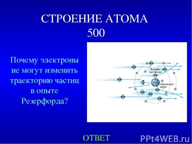 СТРОЕНИЕ АТОМА 500 ОТВЕТ Почему электроны не могут изменить траекторию частиц в опыте Резерфорда?