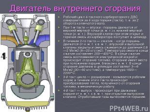 Двигатель внутреннего сгорания Рабочий цикл 4-тактного карбюраторного ДВС соверш