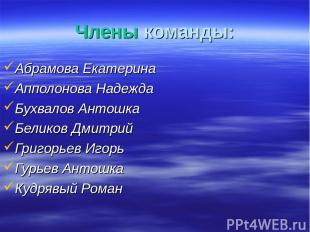 Члены команды: Абрамова Екатерина Апполонова Надежда Бухвалов Антошка Беликов Дм