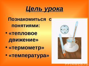 Цель урока Познакомиться с понятиями: «тепловое движение» «термометр» «температу