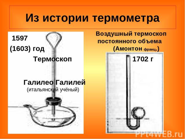 Из истории термометра 1597 (1603) год Термоскоп Галилео Галилей (итальянский учёный) 1702 г Воздушный термоскоп постоянного объема (Амонтон франц.)