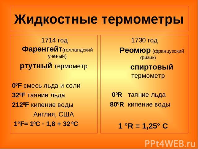 Жидкостные термометры 1714 год Фаренгейт(голландский учёный) ртутный термометр 00F смесь льда и соли 320F таяние льда 2120F кипение воды Англия, США 1°F= 10С · 1,8 + 32 0С 1730 год Реомюр (французский физик) спиртовый термометр 00R таяние льда 800R …