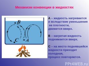 Механизм конвекции в жидкостях А – жидкость нагревается и вследствие уменьшения