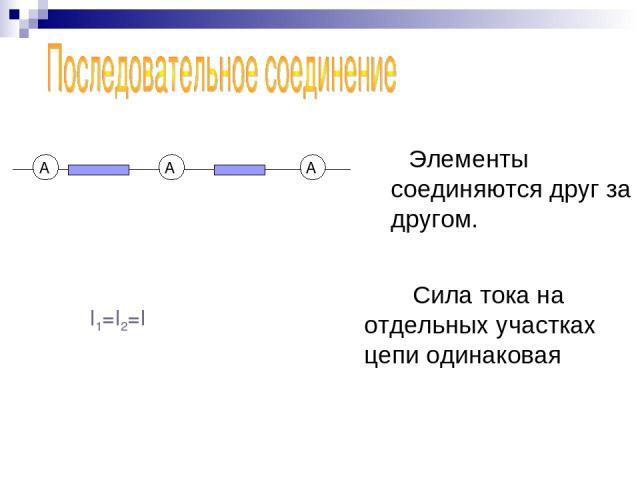 Элементы соединяются друг за другом. I1=I2=I Сила тока на отдельных участках цепи одинаковая