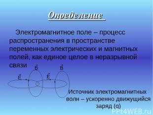 Определение Электромагнитное поле – процесс распространения в пространстве перем