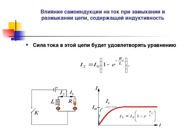 Влияние самоиндукции на ток при замыкании и размыкании цепи, содержащей индуктивность Сила тока в этой цепи будет удовлетворять уравнению