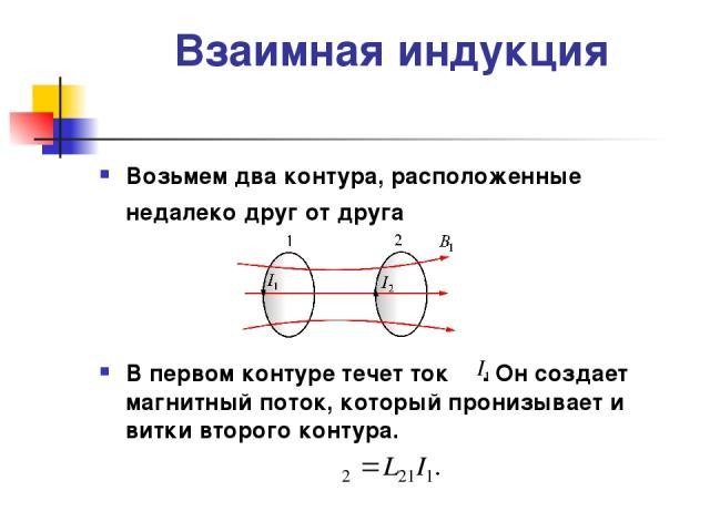 Взаимная индукция Возьмем два контура, расположенные недалеко друг от друга В первом контуре течет ток . Он создает магнитный поток, который пронизывает и витки второго контура.