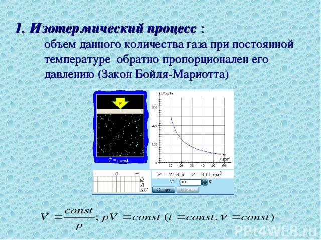 1. Изотермический процесс : объем данного количества газа при постоянной температуре обратно пропорционален его давлению (Закон Бойля-Мариотта)