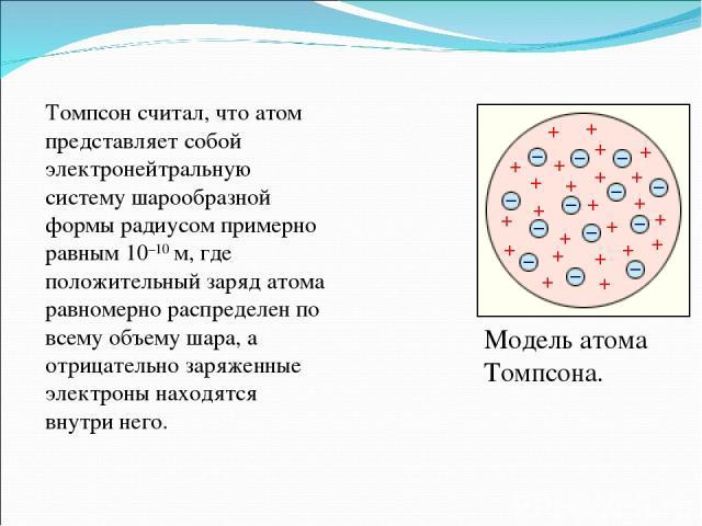 Модель атома Томпсона. Томпсон считал, что атом представляет собой электронейтральную систему шарообразной формы радиусом примерно равным10–10м, где положительный заряд атома равномерно распределен по всему объему шара, а отрицательно заряженные э…