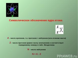 Символическое обозначение ядра атома А - число нуклонов, т.е. протонов + нейтрон