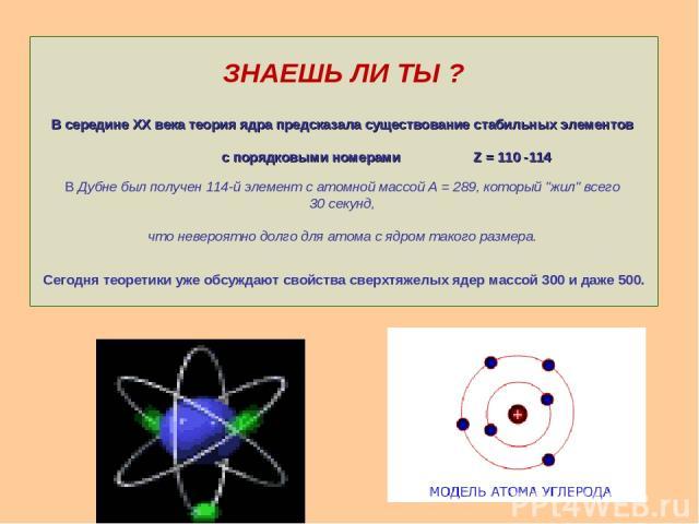 ЗНАЕШЬ ЛИ ТЫ ? В середине XX века теория ядра предсказала существование стабильных элементов с порядковыми номерами Z = 110 -114 В Дубне был получен 114-й элемент с атомной массой А = 289, который