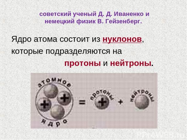 Ядро атома состоит из нуклонов, которые подразделяются на протоны и нейтроны. советский ученый Д. Д. Иваненко и немецкий физик В. Гейзенберг.