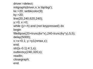 driver:=detect; initgraph(driver,n,'e:\bp\bgi'); kx:=20; setbkcolor(9); ky:=20;