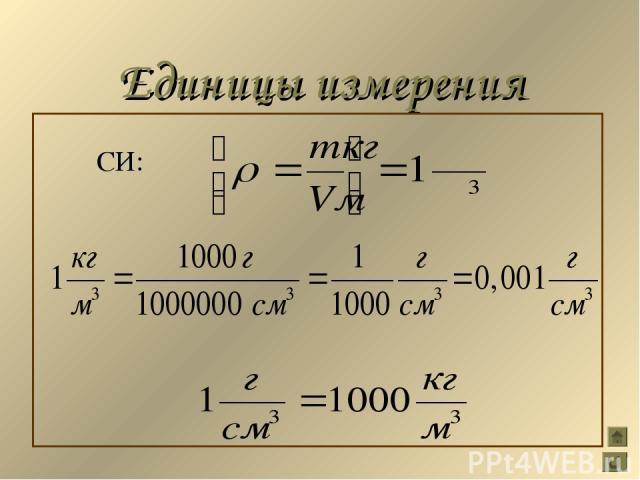 Единицы измерения СИ: