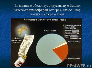 Воздушную оболочку, окружающую Землю, называют атмосферой (от греч. атмос – пар,