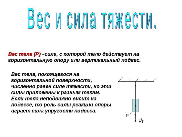 Вес тела (P) –сила, с которой тело действует на горизонтальную опору или вертикальный подвес. Fт P Вес тела, покоящегося на горизонтальной поверхности, численно равен силе тяжести, но эти силы приложены к разным телам. Если тело неподвижно висит на …