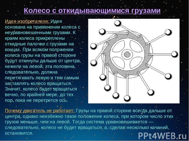 Колесо с откидывающимися грузами Идея изобретателя: Идея основана на применении колеса с неуравновешенными грузами. К краям колеса прикреплены откидные палочки с грузами на концах. При всяком положении колеса грузы на правой стороне будут откинуты д…