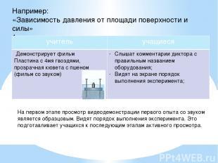 Например: «Зависимость давления от площади поверхности и силы» 1 этап На первом