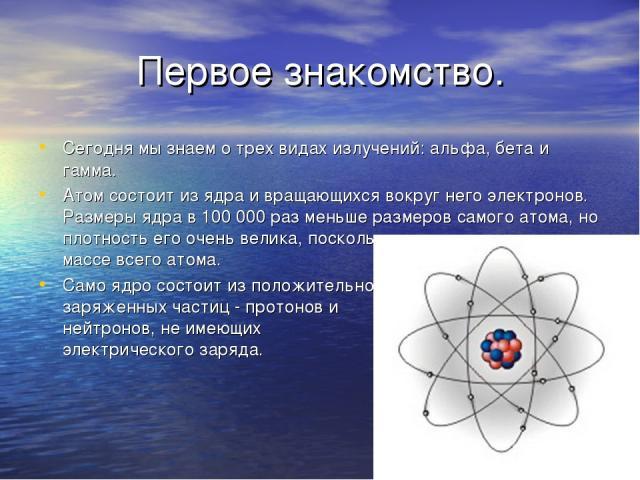 Первое знакомство. Сегодня мы знаем о трех видах излучений: альфа, бета и гамма. Атом состоит из ядра и вращающихся вокруг него электронов. Размеры ядра в 100 000 раз меньше размеров самого атома, но плотность его очень велика, поскольку масса ядра …