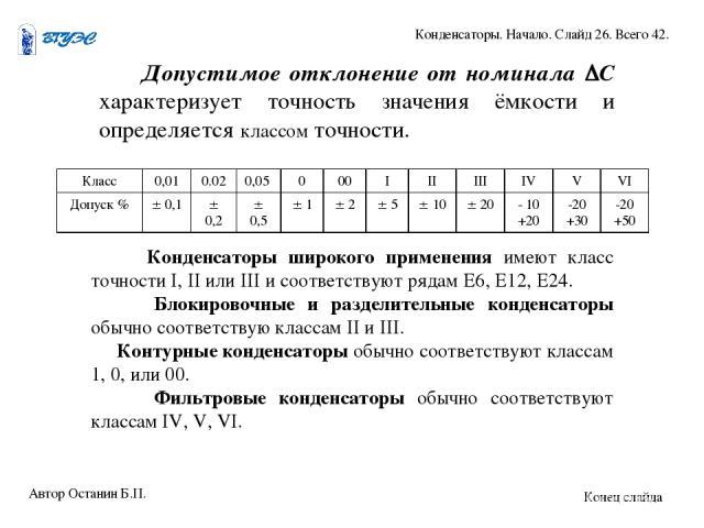Допустимое отклонение от номинала С характеризует точность значения ёмкости и определяется классом точности. Конденсаторы широкого применения имеют класс точности I, II или III и соответствуют рядам Е6, Е12, Е24. Блокировочные и разделительные конде…