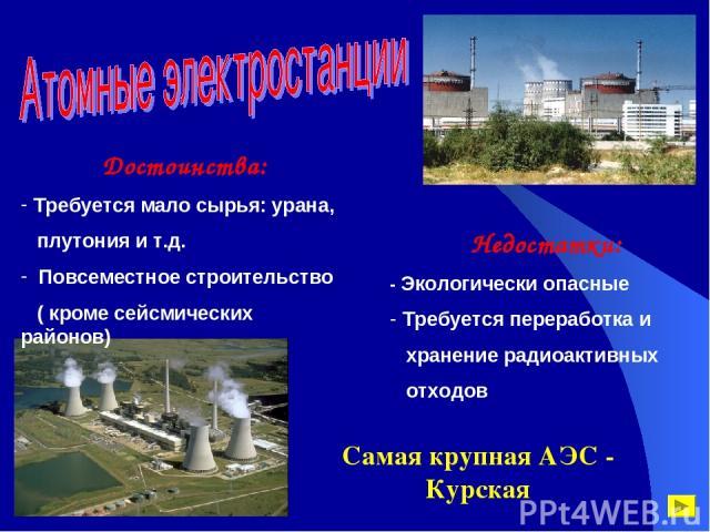 Достоинства: Требуется мало сырья: урана, плутония и т.д. Повсеместное строительство ( кроме сейсмических районов) Недостатки: - Экологически опасные Требуется переработка и хранение радиоактивных отходов Самая крупная АЭС - Курская